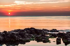 Świt na Czarnym morzu w Sozopol, Bułgaria Zdjęcia Stock