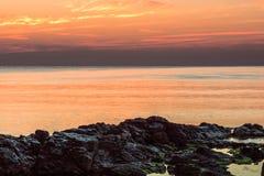 Świt na Czarnym morzu w Sozopol, Bułgaria Obraz Stock