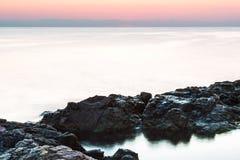 Świt na Czarnym morzu w Sozopol, Bułgaria zdjęcia royalty free