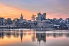Świt nad dziejowym Rochester obraz royalty free