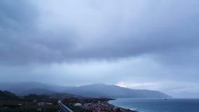 Świt nad wybrzeżem Sicily. Włochy. Czasu upływ zbiory