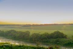 Świt rzeką w wsi Zdjęcia Stock