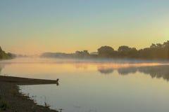 Świt rzeką w wsi Fotografia Royalty Free