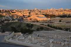 Świt, wschód słońca, nad Jerozolima Obrazy Royalty Free
