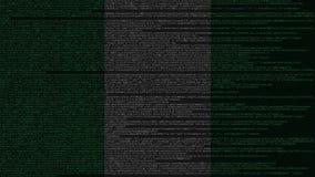 Źródło kod i flaga Nigeria Nigeryjski technologii cyfrowej lub programowania powiązany 3D rendering ilustracji