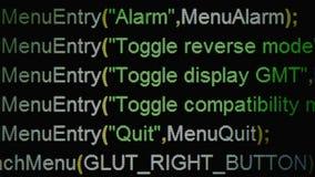 Źródło kodu dowodzony menu obraz stock