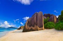źródło plażowy d Seychelles źródło fotografia royalty free