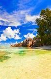 źródło plażowy d Seychelles źródło fotografia stock