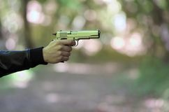 Źrebak broń w ręce zdjęcia stock