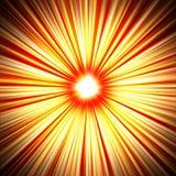 Żółci czerwoni promienie od centrum abstrakta obciosują tło Zdjęcie Royalty Free