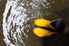 Żółci gumowi buty w wodzie Odgórny widok linii brzegowej zielonej horyzontalnej wizerunku fotografii Sardinia denna nieba roślinn Zdjęcie Royalty Free