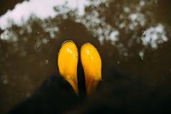 Żółci gumowi buty w wodzie Odgórny widok linii brzegowej zielonej horyzontalnej wizerunku fotografii Sardinia denna nieba roślinn Obraz Royalty Free