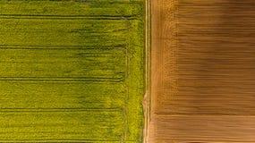 Żółci gwałtów pola i pług ziemia, powietrzny trutnia widok zdjęcie stock