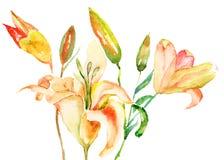 Żółci leluja kwiaty Fotografia Royalty Free