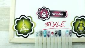 Żółci majchery i zima manicure zbiory wideo