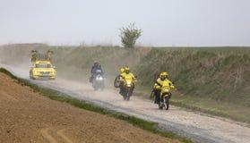 Żółci pojazdy Mavic, Roubaix - 2019 obraz stock