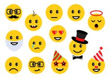 Żółci smileys, set różne emoticon ikony wektor ilustracja wektor