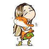 Żółci sneakers, imbirowy kot, piękna dziewczyna, mała, miła fabuła, grean suknia ilustracji