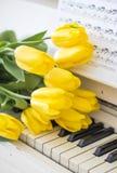 Żółci tulipany na białym pianinie obrazy stock