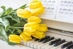 Żółci tulipany na białym pianinie zdjęcia royalty free