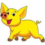 Żółta świnia jest radosna, maluje z kwadratami, piksle również zwrócić corel ilustracji wektora Ilustracji