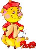 Żółta Earthy świnia z pomyślności ciastkiem dla nowego roku 2019 cięcie fotografia stock