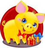 Żółta Earthy świnia z prezenta pudełkiem dla nowego roku 2019 Śliczny Symb zdjęcie royalty free