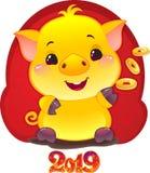 Żółta Earthy świnia z Złotymi monetami dla nowego roku 2019 śliczny zdjęcie stock