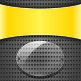 Żółta etykietka z przezroczystość talerzem Zdjęcia Royalty Free