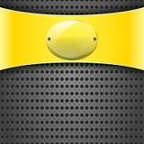 Żółta etykietka z przezroczystość talerzem Obrazy Stock