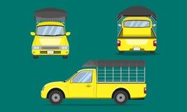 Żółta furgonetka z samochodową stalową drażniącą plastikową odgórnej pokrywy frontową stroną z powrotem przegląda przewiezioną we ilustracja wektor