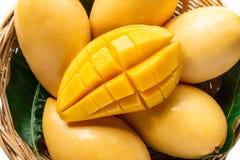 Żółta mangowa Piękna skóra W koszu W białym tle zdjęcie royalty free