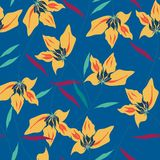 Żółta orchidea na błękitnym tle ilustracja wektor