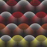 Żółta pomarańczowa czerwień cienił kolorowych geometrical linii bezszwowego wzór Obraz Stock
