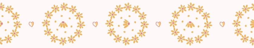 Żółta ręka rysująca stokrotka okręgu wektoru bezszwowa granica ilustracja wektor