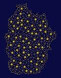 Żółta siatka drutu ramy Flores wyspa Azores mapa z Lekkimi punktami royalty ilustracja