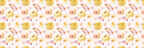 Żółta wiosny akwarela kwitnie bezszwowego wzór z pięknymi pomarańczowymi kwiecistymi ilustracjami Obraz Royalty Free
