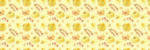 Żółta wiosny akwarela kwitnie bezszwowego wzór z pięknymi pomarańczowymi kwiecistymi ilustracjami Fotografia Royalty Free