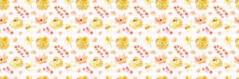 Żółta wiosny akwarela kwitnie bezszwowego wzór z pięknymi pomarańczowymi kwiecistymi ilustracjami Fotografia Stock