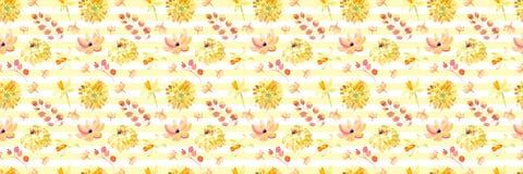 Żółta wiosny akwarela kwitnie bezszwowego wzór z pięknymi pomarańczowymi kwiecistymi ilustracjami Zdjęcie Royalty Free