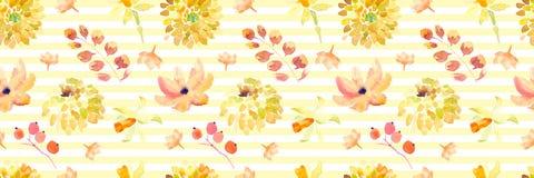Żółta wiosny akwarela kwitnie bezszwowego wzór z pięknymi pomarańczowymi kwiecistymi ilustracjami Zdjęcia Royalty Free