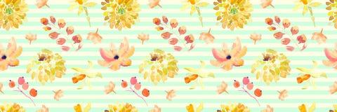 Żółta wiosny akwarela kwitnie bezszwowego wzór z pięknymi pomarańczowymi kwiecistymi ilustracjami Obrazy Royalty Free