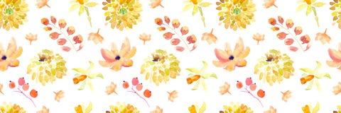 Żółta wiosny akwarela kwitnie bezszwowego wzór z pięknymi pomarańczowymi kwiecistymi ilustracjami Zdjęcie Stock