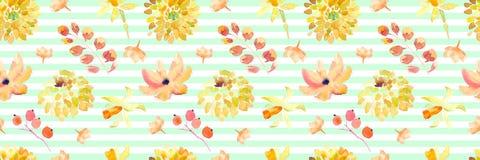 Żółta wiosny akwarela kwitnie bezszwowego wzór z pięknymi pomarańczowymi kwiecistymi ilustracjami Obraz Stock