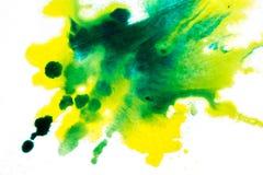 żółta zieleń, rozmyty punkt akwareli farba Tło royalty ilustracja