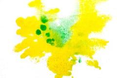 żółta zieleń, rozmyty punkt akwareli farba Tło ilustracji