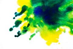żółta zieleń, rozmyty punkt akwareli farba Tło ilustracja wektor