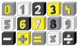Żółte colour liczby od (0) 9 z matematycznie operacjami na blokach Zdjęcie Royalty Free