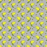 Żółte cytryn owoc z zieleń liśćmi odizolowywającymi na szarym tle w pięknym stylu ilustracji