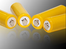 Żółte do naładowania baterie Obraz Royalty Free